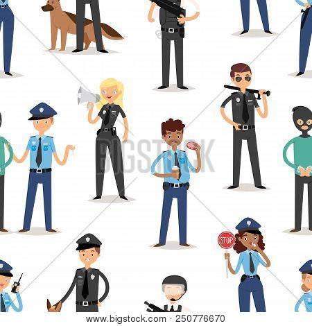 Policeman Characters Funny Cartoon Man Person Uniform Cop Standing People Security Vector Illustrati