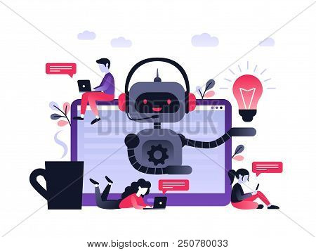 Chatbot Business Concept. Modern Banner For The Site. Chatbot, Artificial Intelligence, Customer Sup