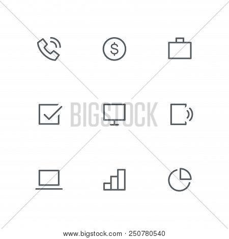 Basic Outline Icon Set - Telephone, Dollar Coin, Briefcase, Check Mark, Computer Screen, Mobile Phon