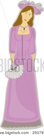Slim Female In Lavender Dress Holding Fan