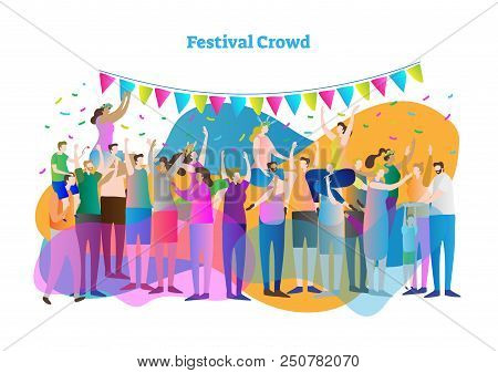 Festival crowd vector illustration. Mass group of fans and spectators dance, clap and view concert or entertainment. Girls with flower crown on men shoulder. Outdoor celebration of life and happiness. poster