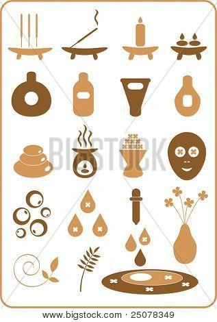 A collection of aromatherapy design elements.