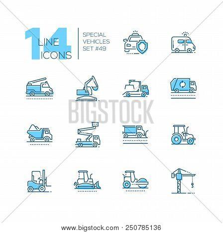 Special Vehicles - Line Design Blue Icons Set. Police Car, Fire Engine, Ambulance, Aerial Platform,