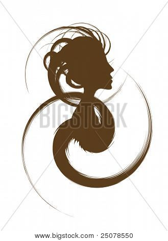 Hair Design Logo – Female silhouette with funky hair design.