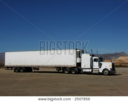 Semi Trailer In Desert