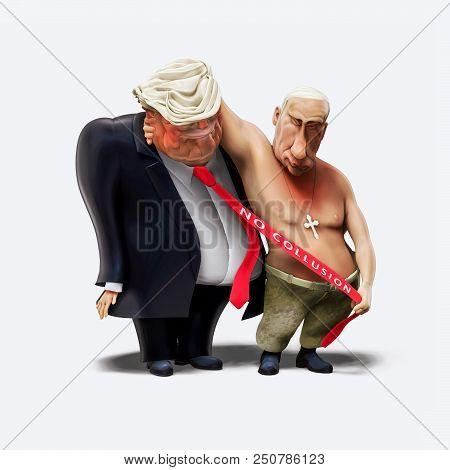 July 16, 2018: Trump And Putin Had Meeting In Helsinki. 3D Illustration