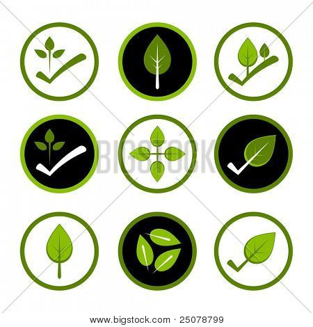 Green environmentally friendly logos. poster