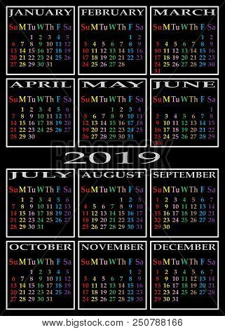 Calendar 2019 On Black Background With Specific Color For Each Day Of The Week