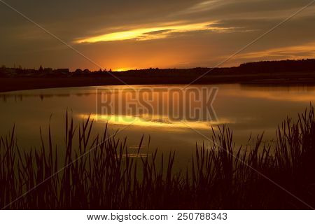 Evening Sky Over Evening Lake, Reeds And Evening Lake, Night And Evening Fishing