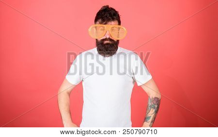 Man Bearded Hipster Wears Giant Louvered Sunglasses. Sunglasses Summer Attribute And Stylish Accesso