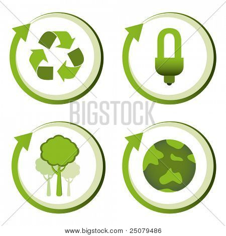 Green eco friendly design concepts - recycle, energy saving light bulb, reforestation, green earth.