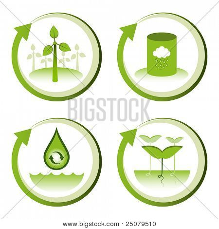 Green eco friendly design concepts – wind farm, rain water tank, water conservation, tree seedlings.