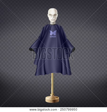Vector 3d Realistic Dark Blue Hairdresser Apron On White Mannequin Isolated On Transparent Backgroun