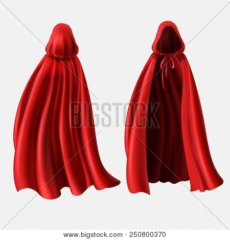Vector Realistic Set Of Red Cloaks With Hoods Isolated On White Background. Carnival Clothes, Fancy