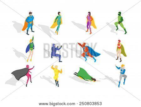 Cartoon Characters People Super Heroes Different Types Set Costume Hero Concept Element Flat Design