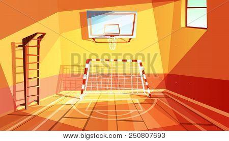 Gymnasium Vector Illustration Of College Or School Gym And Sport Hall Interior. Cartoon Background O