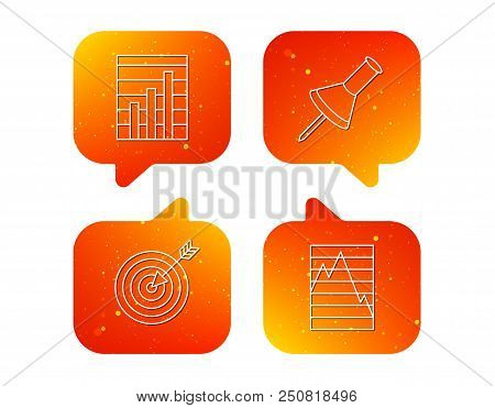 Pushpin, graph charts and target icons. Supply and demand linear signs. Orange Speech bubbles with icons set. Soft color gradient chat symbols. Vector poster