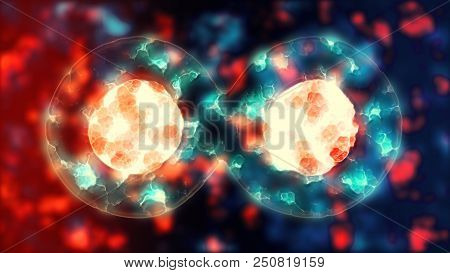 Cell mitosis. Cellular division of cell-like lifeform. Microbiology illustration of cells duplicating. Biology scientific concept of birth and life. UHD 4K poster