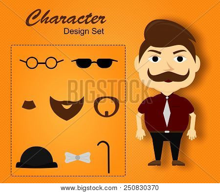 Front View Animated Character. Manager Character Creation Set With Various Views,mustache, Accessori