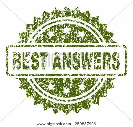 Best Answers Stamp Seal Watermark With Rubber Print Style. Green Vector Rubber Print Of Best Answers