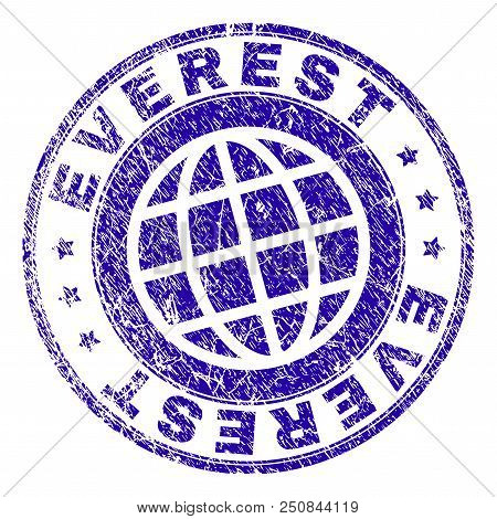 Everest Stamp Print With Grunge Texture. Blue Vector Rubber Seal Print Of Everest Label With Grunge