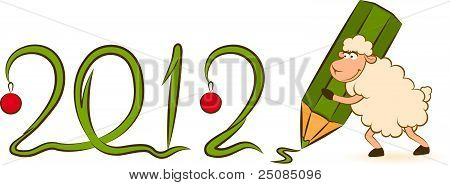 Cartoon funny sheep with numbers 2012 year. Christmas illustration