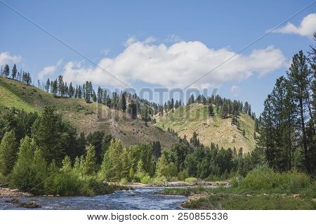 Clouds Float In Blue Sky Above The Boise River Near Featherville, Idaho, Usa.
