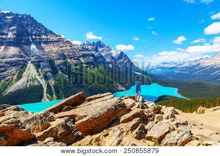 A Teen Hiker At Bow Summit Overlooking Peyto Lake  In Banff National Park On The Icefields Parkway.