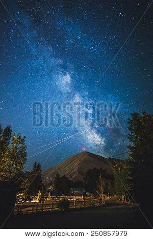 Milky Way Shining Bright Above Della Mountain In Hailey, Idaho, Usa.