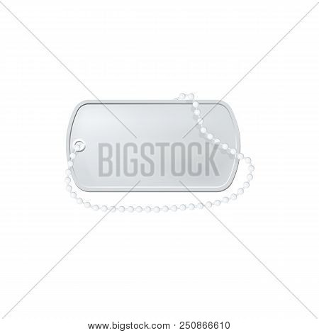 Silver Dog Tag Label. Military Dogtag Necklace. Personal Id Pendant