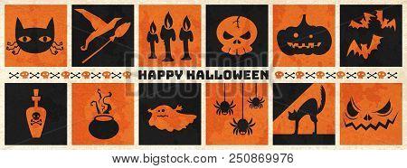 Happy Halloween Web Banner ,halloween Vector Symbol Object Collection. Vector Halloween Illustration