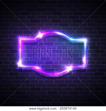 Realistic neon led lights frame. Game show signage with glowing. Electric bright 3d street sign on dark brick background wall. Abstract electricity frame with neon light. 80s style vector illustration poster