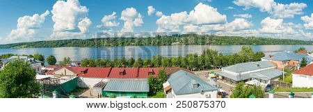 City Of Ples, Ivanovo Region, Russia - 15.07.2018: A Panorama Of The Volga River In Summer Sunny Day