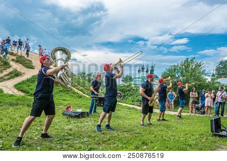 Brass Band Plays At The Festival Of Cucumber 14.07.2018 In Suzdal, Vladimir Region, Russia.
