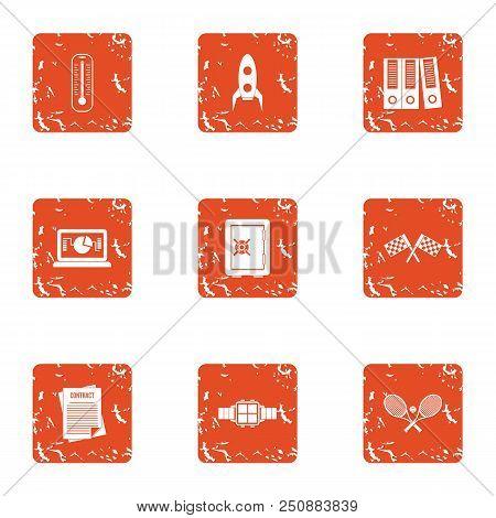 Platform Icons Set. Grunge Set Of 9 Platform Vector Icons For Web Isolated On White Background