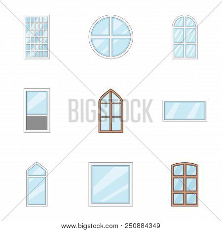 Window Aperture Icons Set. Cartoon Set Of 9 Window Aperture Vector Icons For Web Isolated On White B