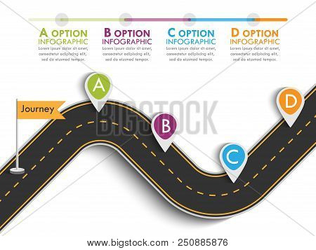 Road Trip And Journey Route With Pin Pointer. Business And Journey Infographic Design Template With