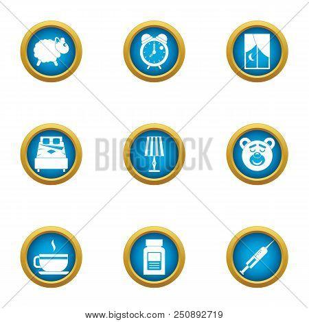 Sleepy Evening Icons Set. Flat Set Of 9 Sleepy Evening Vector Icons For Web Isolated On White Backgr