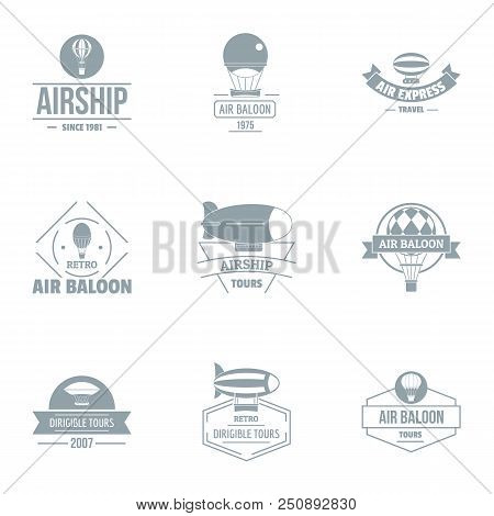 Airborne Logo Set. Simple Set Of 9 Airborne Vector Logo For Web Isolated On White Background