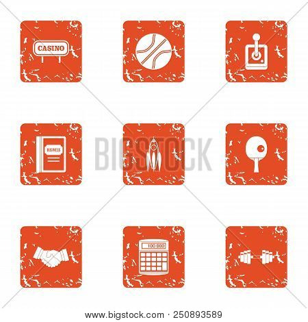 Cash Game Icons Set. Grunge Set Of 9 Cash Game Vector Icons For Web Isolated On White Background