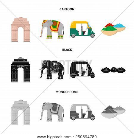 Country India Cartoon, Black, Monochrome Icons In Set Collection For Design.india And Landmark Vecto