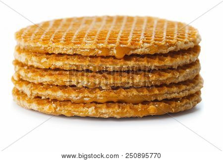 Stack Of Belgian Waffle Chips Isolated On White Background