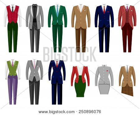 Business Suit Vector Mail Or Female Corporate Suited Clothes Of Businessman Or Businesswoman Illustr