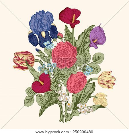 Bouquet Of Flowers. Floral Background. Vector Illustration.