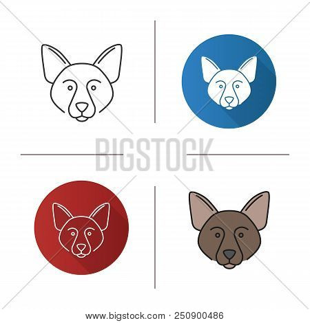 Border Collie Icon. Scottish Sheepdog. Flat Design, Linear And Color Styles. Isolated Vector Illustr