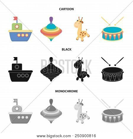 Ship, Yule, Giraffe, Drum.toys Set Collection Icons In Cartoon, Black, Monochrome Style Vector Symbo
