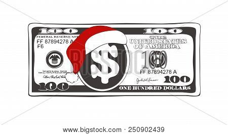 Design Of 100 Dollar With Santa Claus Red Hat. Christmas Bill One Hundred Dollar In Black And White