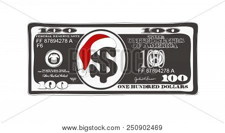 Design Of 100 Dollar With Santa Claus Red Hat. Christmas Bill One Hundred Dollar In Black And White.