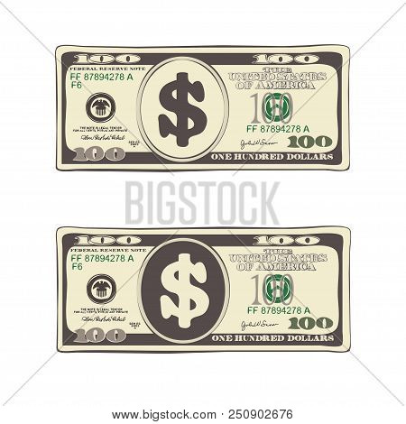 Design Of 100 Dollars. Set Of Bill One Hundred Dollars. Template Suitable For Discount Cards, Leafle