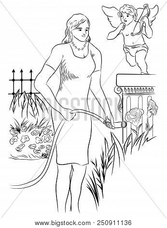Young Girl Watering Plant And Beautiful Roses.  Gardener Beautiful Woman Watering Flowers And vegeta
